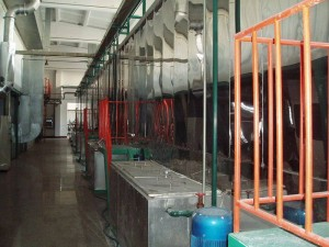 The spraying equipment comprises preliminary treatment electrophoresis line